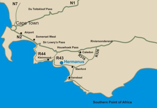 Map The Potting Shed Self Catering in Hermanus  Overberg  Western Cape  South Africa