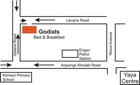 Map Godials Bed & Breakfast in Nairobi  Kenya