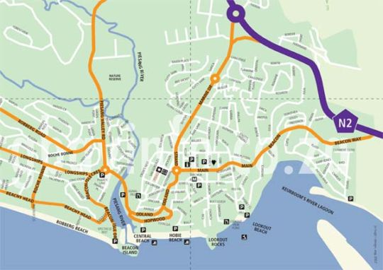 Map Albergo for Backpackers in Plettenberg Bay  Garden Route  Western Cape  South Africa