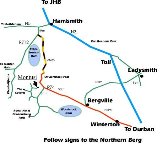 Map Montusi Mountain Lodge in Northern Drakensberg  Drakensberg (KZN)  KwaZulu Natal  South Africa