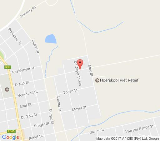 Map Sundowner Lodge and Caravan Park in Piet Retief  Wetlands  Mpumalanga  South Africa