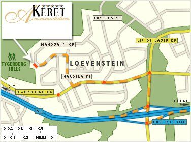 Map Keret Accommodation in Bellville  Northern Suburbs (CPT)  Cape Town  Western Cape  South Africa