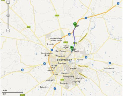 Map Encore Guest House in Bloemfontein  Mangaung  Free State  South Africa