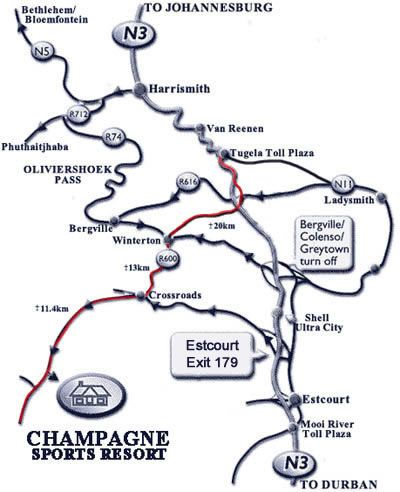 Map Champagne Sports Resort in Cathkin Park  Central Drakensberg  Drakensberg (KZN)  KwaZulu Natal  South Africa