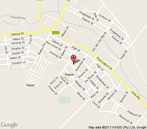 Map Barbie Cottage in Napier  Overberg  Western Cape  South Africa