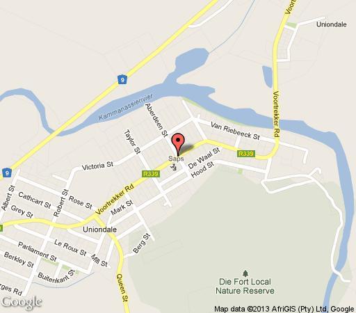 Map Huisie Ommie Hoek in Uniondale  Klein Karoo  Western Cape  South Africa