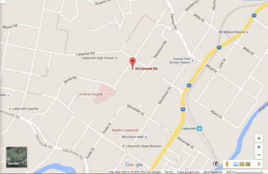Map  Convent Hill B&B in Ladysmith  Battlefields  KwaZulu Natal  South Africa