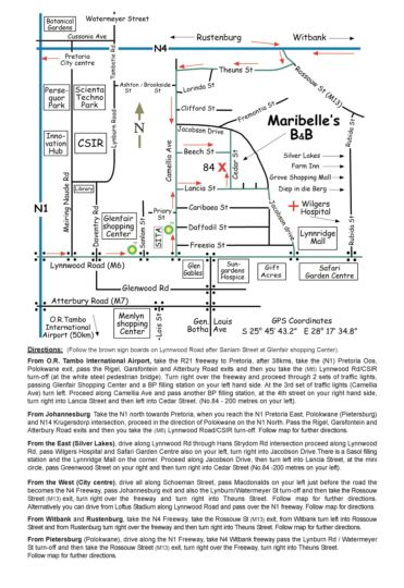 Map Maribelle\'s Bed & Breakfast in Lynnwood Ridge  Pretoria East  Pretoria / Tshwane  Gauteng  South Africa