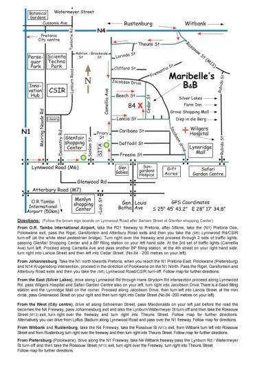 Map Maribelle\'s Bed & Breakfast in Lynnwood Ridge  Pretoria East  Pretoria / Tshwane  Gauteng  South Africa