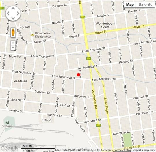 Map Villa D\' Rust  in Mayville (GP)  Moot  Pretoria / Tshwane  Gauteng  South Africa