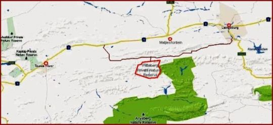 Map Witteberg Nature Reserve in Laingsburg  Karoo  Western Cape  South Africa