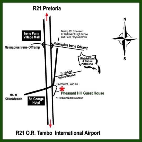 Map Pheasant Hill B&B in Irene  Centurion  Pretoria / Tshwane  Gauteng  South Africa