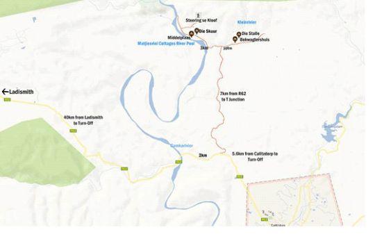 Map Matjiesvlei Cottages: Die Bokwagtershuis in Calitzdorp  Klein Karoo  Western Cape  South Africa