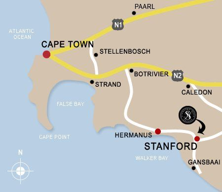 Map Stanford Hills Cottages in Stanford  Overberg  Western Cape  South Africa