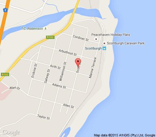 Map Blue Marlin Hotel in Scottburgh  South Coast (KZN)  KwaZulu Natal  South Africa