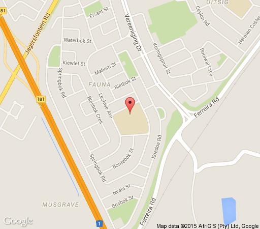 Map Bains Chalet Park in Bloemfontein  Mangaung  Free State  South Africa