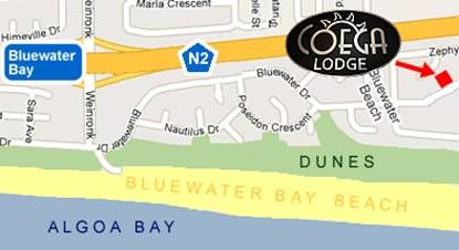 Map Coega Lodge in Bluewater Bay  Port Elizabeth  Cacadu (Sarah Baartman)  Eastern Cape  Südafrika