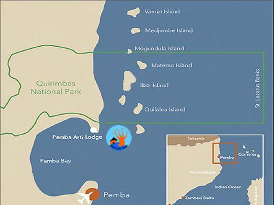 Map Pemba Arti Lodge in Pemba  Cabo Delgado  Mozambique