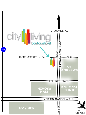 Map City Living Boutique Hotel in Bloemfontein  Mangaung  Free State  South Africa