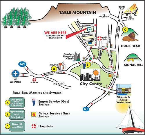 Map Redbourne Hilldrop in Oranjezicht  City Bowl  Cape Town  Western Cape  South Africa