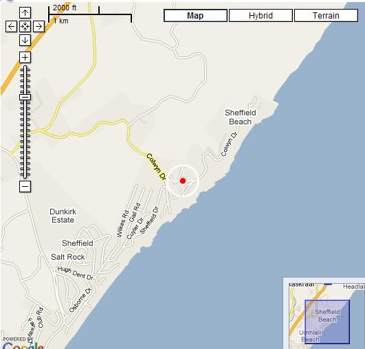 Map Bed and Breakfast by the Sea in Salt Rock  North Coast (KZN)  KwaZulu Natal  South Africa