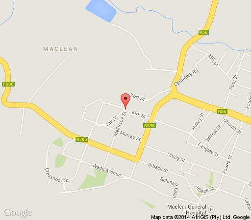 Map Oak Lane B&B in Maclear  Drakensberg (EC)  Eastern Cape  South Africa