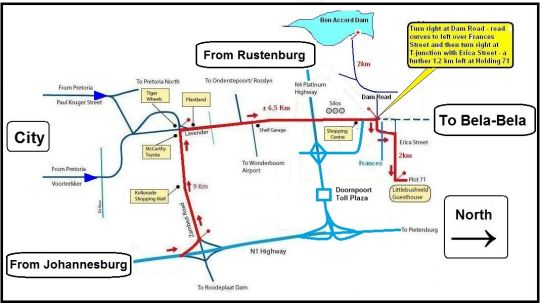 Map Littlebushveld Guesthouse in Bon Accord  Pretoria North  Pretoria / Tshwane  Gauteng  South Africa