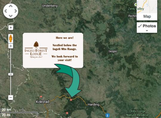 Map Anew Hotel Ingeli Forest and Spa in Kokstad  East Griqualand  KwaZulu Natal  South Africa