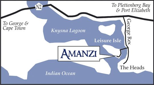 Map Amanzi Island Lodge in Knysna  Garden Route  Western Cape  Afrique du Sud