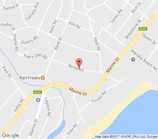 Map AJ\'s Guesthouse in Margate  South Coast (KZN)  KwaZulu Natal  South Africa