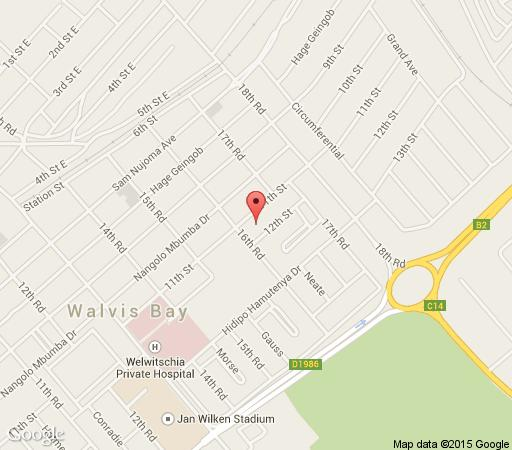 Map Oryx Bed and Breakfast in Walvis Bay  Erongo  Namibia
