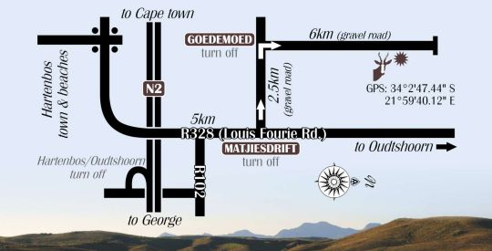 Map Hartenbos Private Game Lodge in Mossel Bay  Garden Route  Western Cape  South Africa