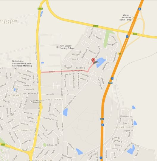 Map Sevens Guesthouse in Kroonstad  Fezile Dabi (Northern Free State)  Free State  South Africa