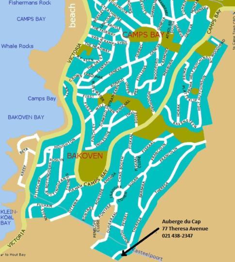 Map Auberge du Cap in Camps Bay  Atlantic Seaboard  Cape Town  Western Cape  South Africa