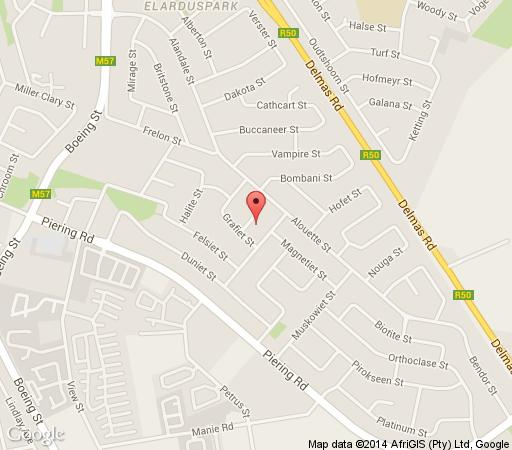 Map Swallows Rest  Furnished Apartment in Elardus Park  Pretoria East  Pretoria / Tshwane  Gauteng  South Africa