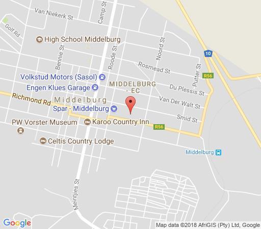 Map Desert Inn in Middelburg (EC)  Stormberg District  Eastern Cape  South Africa