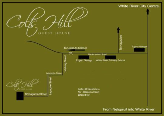 Map Colts Hill Guest House in White River  The Panorama  Mpumalanga  South Africa