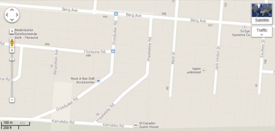 Map El Cazador Guest House in Pretoria North Suburb  Pretoria North  Pretoria / Tshwane  Gauteng  South Africa