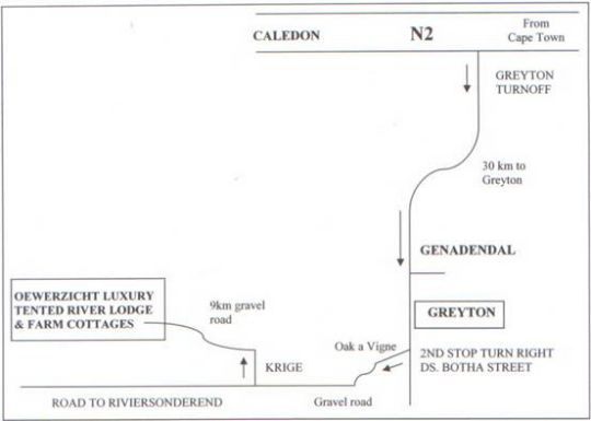Map Oewerzicht Farm Cottages in Greyton  Overberg  Western Cape  South Africa