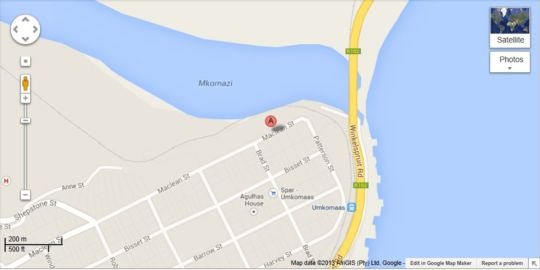Map Shark and Shoal Guest House in Umkomaas  South Coast (KZN)  KwaZulu Natal  South Africa