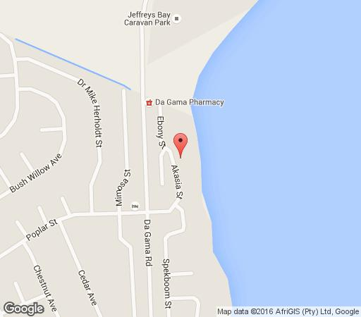 Map Jeffreys Bay Beach House in Jeffreys Bay  Cacadu (Sarah Baartman)  Eastern Cape  South Africa