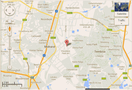 Map Anashe Guest House and Conference Centre  in Halfway House  Midrand  Johannesburg  Gauteng  South Africa