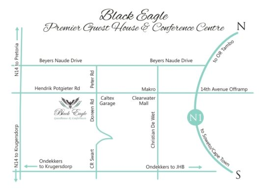 Map Black Eagle Boutique Hotel & Conferences in Ruimsig  Roodepoort  West Rand  Gauteng  South Africa