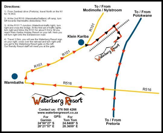 Map Waterberg Resort Camping Site in Bela Bela  Bushveld  Limpopo  South Africa