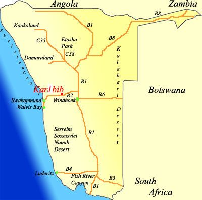 Map Tommy\'s Lodge  in Karibib  Erongo  Namibia