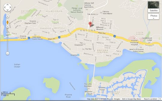 Map Hilton Court Apartment 12 in Knysna  Garden Route  Western Cape  South Africa