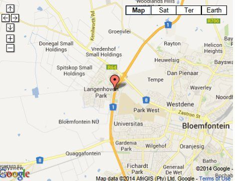 Map Tsessebe Guesthouse in Bloemfontein  Mangaung  Free State  South Africa