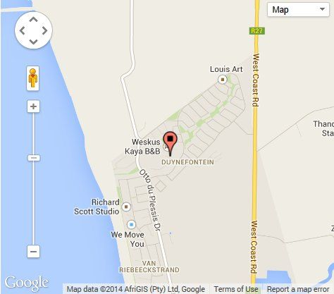 Map Weskus Kaya B&B in Melkbosstrand  Blaauwberg  Cape Town  Western Cape  South Africa