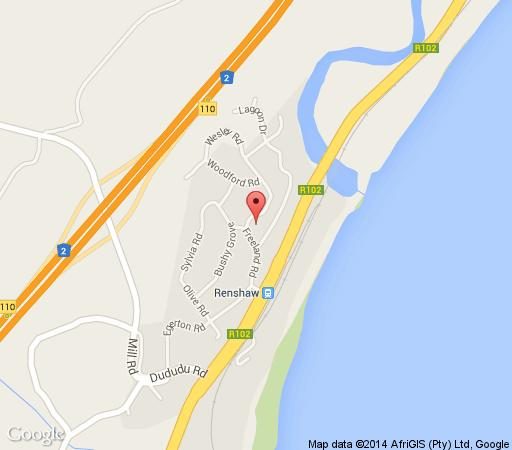 Map Serenity Cottage in Freeland Park  South Coast (KZN)  KwaZulu Natal  South Africa