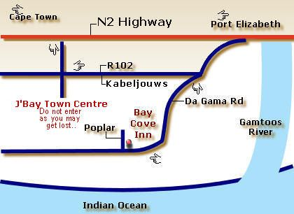Map Bay Cove Inn in Jeffreys Bay  Cacadu (Sarah Baartman)  Eastern Cape  South Africa